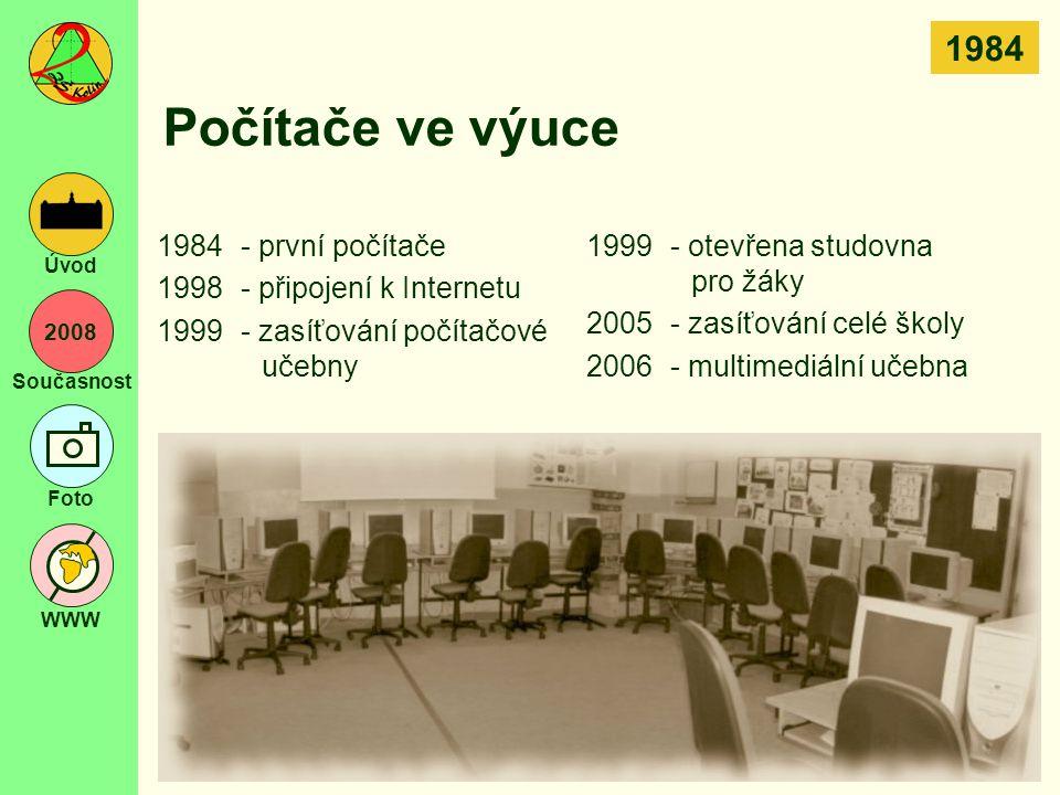 2008 Současnost Foto WWW Úvod Počítače ve výuce 1984- první počítače 1998- připojení k Internetu 1999- zasíťování počítačové učebny 1999- otevřena stu