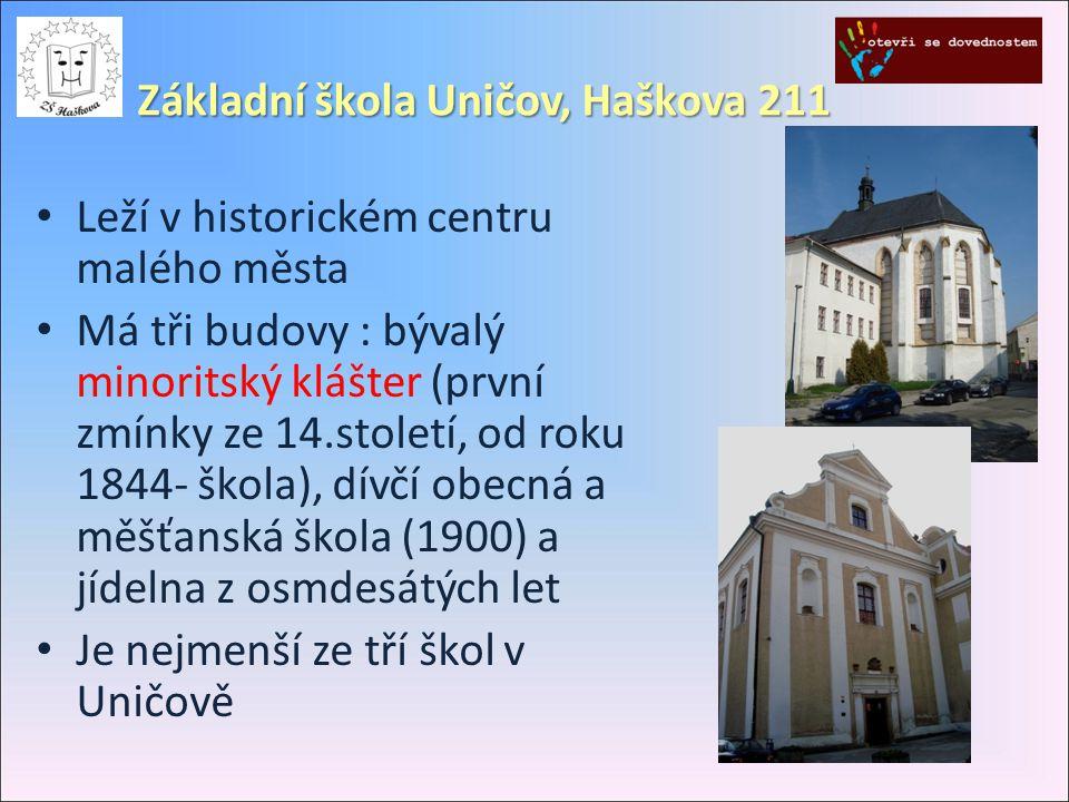 Základní škola Uničov, Haškova 211 • Leží v historickém centru malého města • Má tři budovy : bývalý minoritský klášter (první zmínky ze 14.století, o