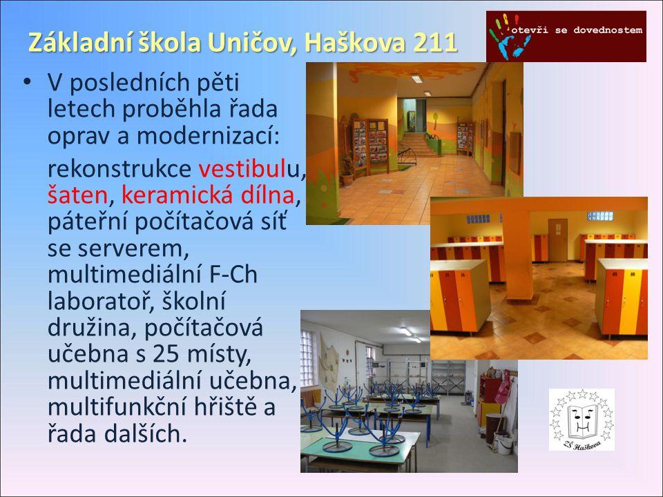 Základní škola Uničov, Haškova 211 • V posledních pěti letech proběhla řada oprav a modernizací: rekonstrukce vestibulu, šaten, keramická dílna, páteř