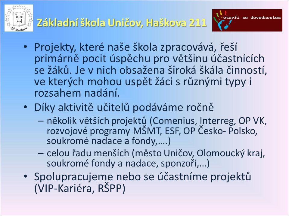 Základní škola Uničov, Haškova 211 • Projekty, které naše škola zpracovává, řeší primárně pocit úspěchu pro většinu účastnících se žáků. Je v nich obs