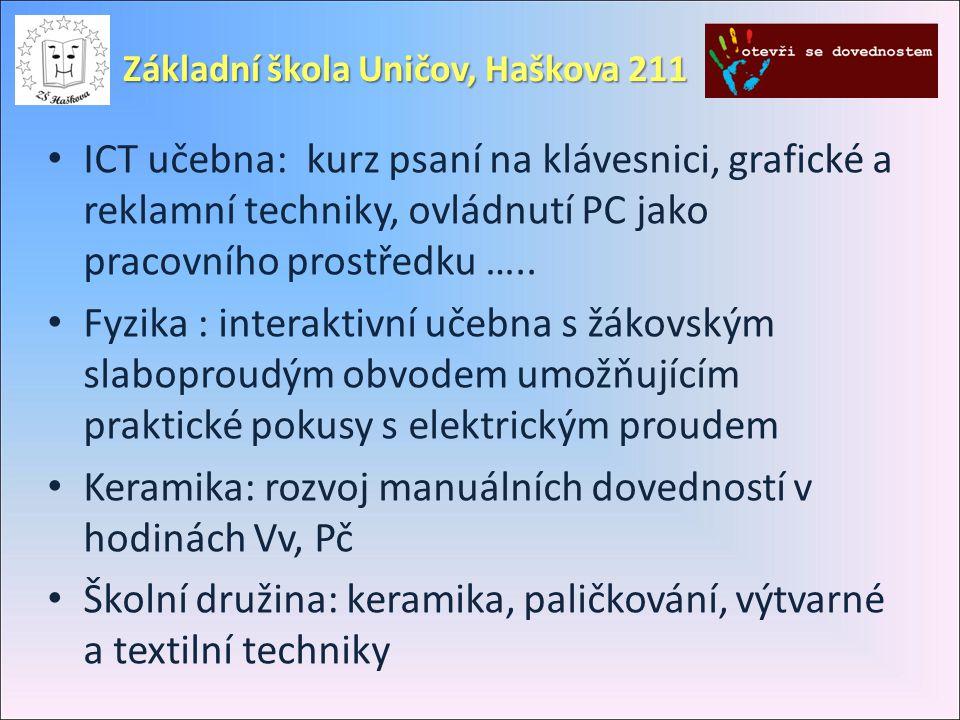 • ICT učebna: kurz psaní na klávesnici, grafické a reklamní techniky, ovládnutí PC jako pracovního prostředku …..