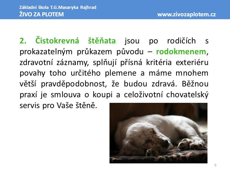9 Základní škola T.G.Masaryka Rajhrad ŽIVO ZA PLOTEM www.zivozaplotem.cz 2. Čistokrevná štěňata jsou po rodičích s prokazatelným průkazem původu – rod