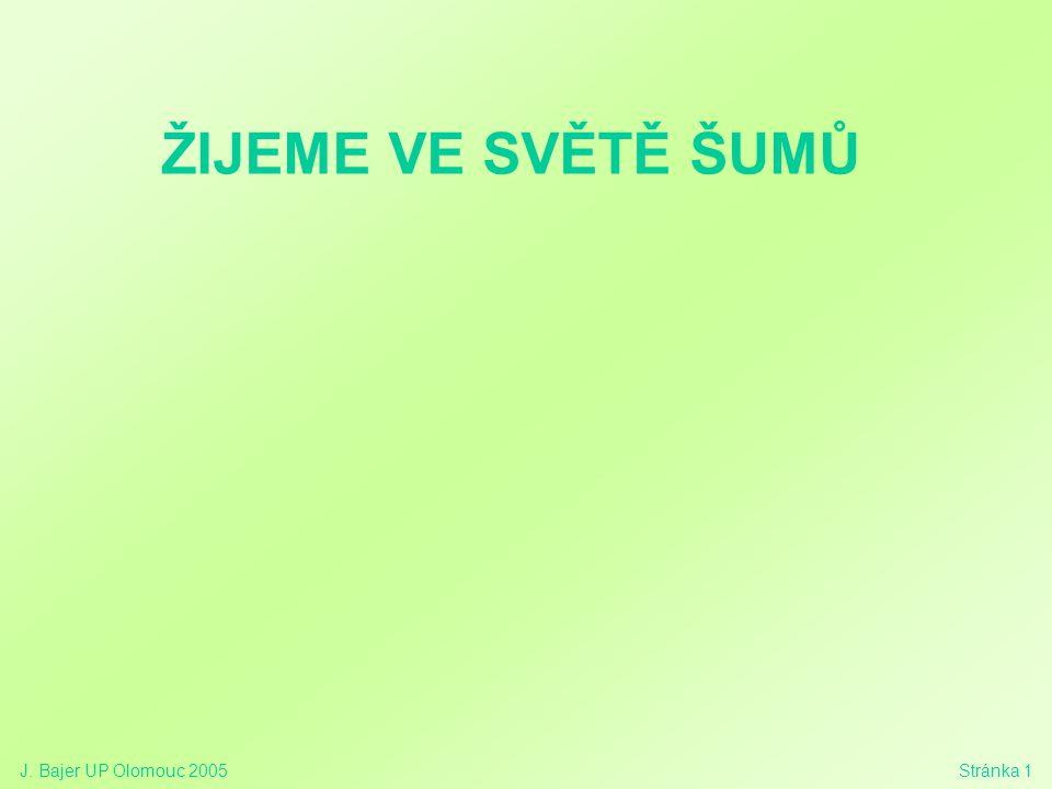 J. Bajer UP Olomouc 2005Stránka 1 ŽIJEME VE SVĚTĚ ŠUMŮ