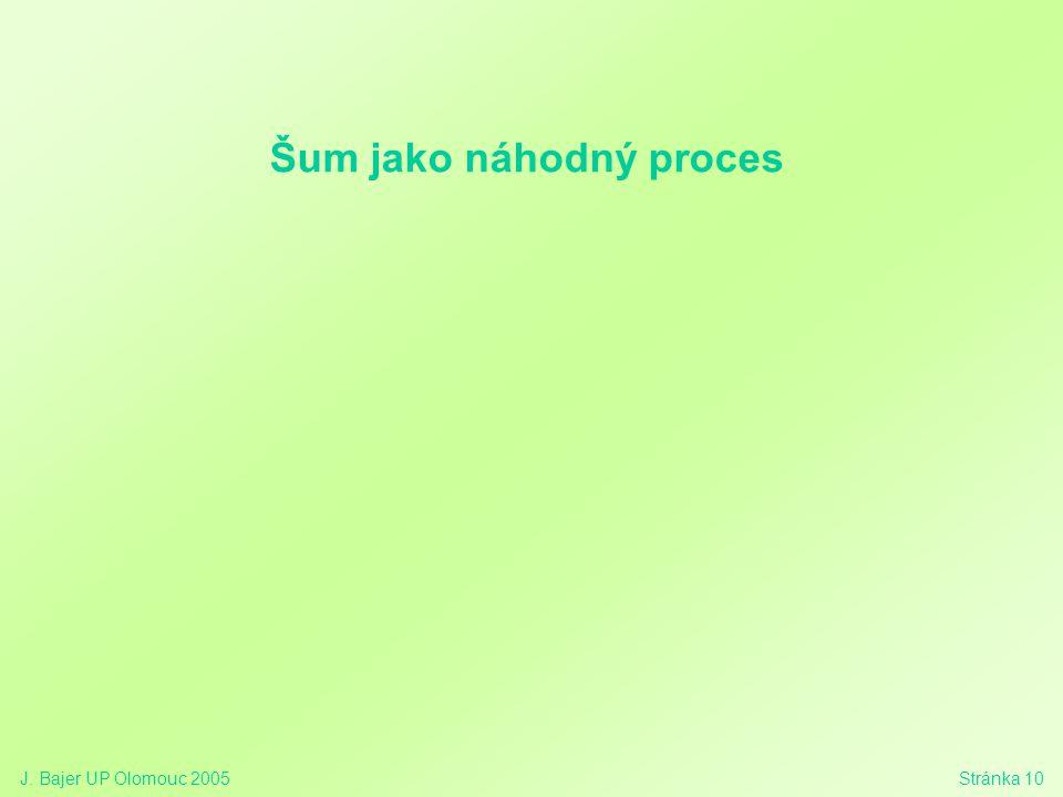 J. Bajer UP Olomouc 2005Stránka 10 Šum jako náhodný proces