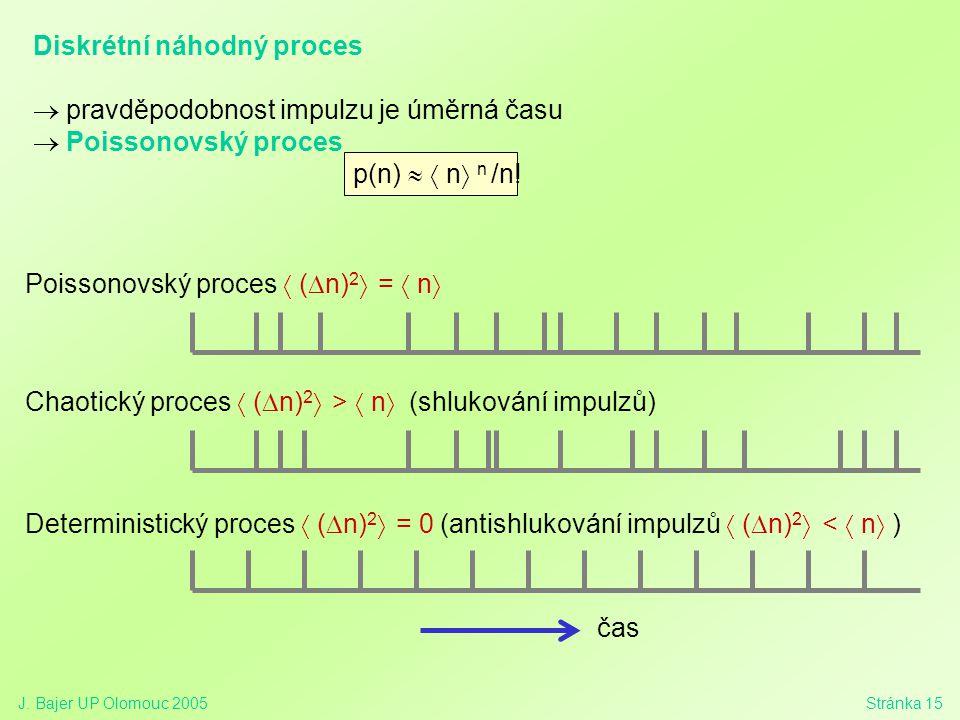 J. Bajer UP Olomouc 2005Stránka 15 Poissonovský proces  (  n) 2  =  n  Chaotický proces  (  n) 2  >  n  (shlukování impulzů) Diskrétní náhod