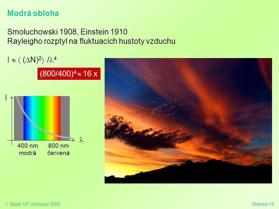 J. Bajer UP Olomouc 2005Stránka 18 Modrá obloha Smoluchowski 1908, Einstein 1910 Rayleigho rozptyl na fluktuacích hustoty vzduchu I   (  N) 2  / 