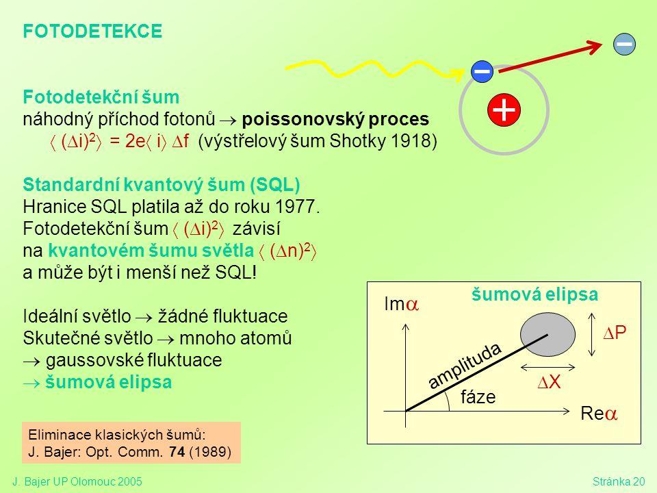 J. Bajer UP Olomouc 2005Stránka 20 FOTODETEKCE Fotodetekční šum náhodný příchod fotonů  poissonovský proces  (  i) 2  = 2e  i  f (výstřelový š