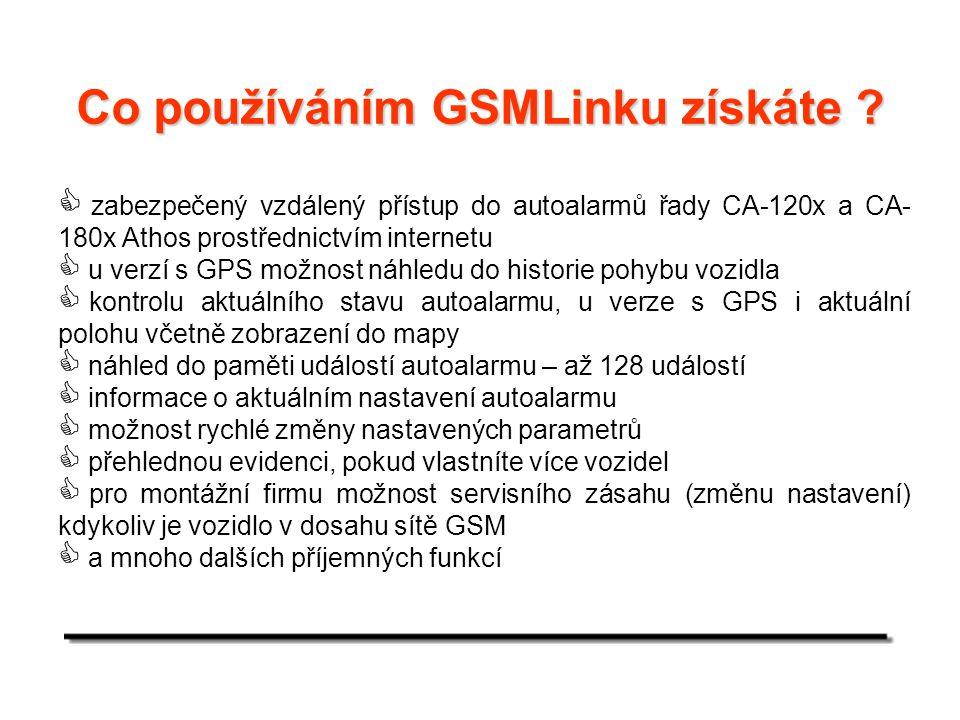 Základní informace :  adresa aplikace – www.gsmlink.cz  přístup na stránku je zabezpečeným připojením https  je možno vytvářet dva typy přístupů – uživatel – montážní technik  uživatel má registrována zařízení, která používá (jeho vlastní vozy), pokud zákazník nepožaduje vlastní přístup, není nutné jej zakládat  montážní technik má registrována zařízení, která instaloval a může je mít ve správě – možnost vzdáleného servisu.