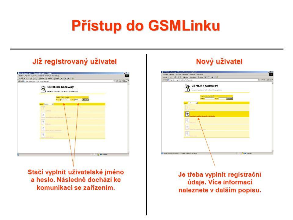 Přístup do GSMLinku Již registrovaný uživatel Nový uživatel Stačí vyplnit uživatelské jméno a heslo. Následně dochází ke komunikaci se zařízením. Je t
