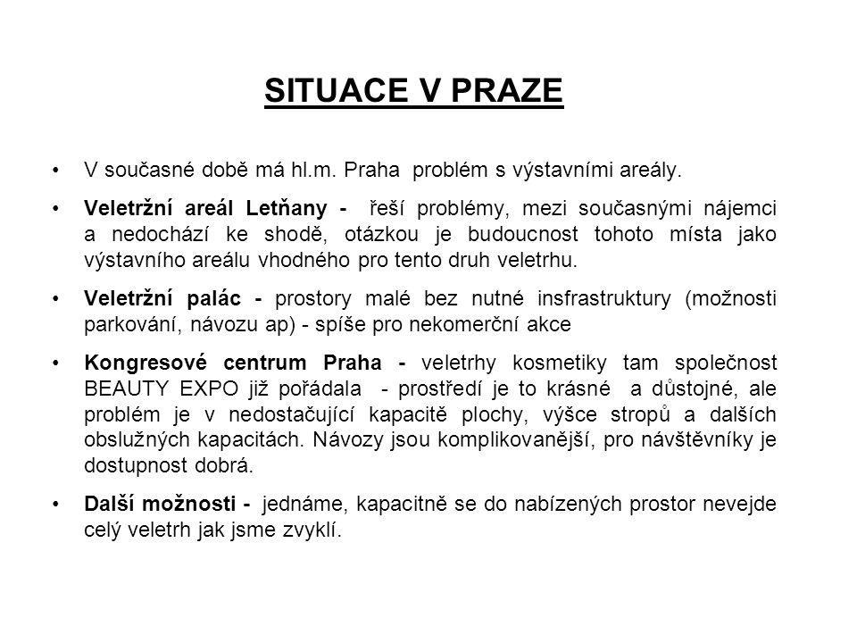 SITUACE V PRAZE •V současné době má hl.m. Praha problém s výstavními areály. •Veletržní areál Letňany - řeší problémy, mezi současnými nájemci a nedoc