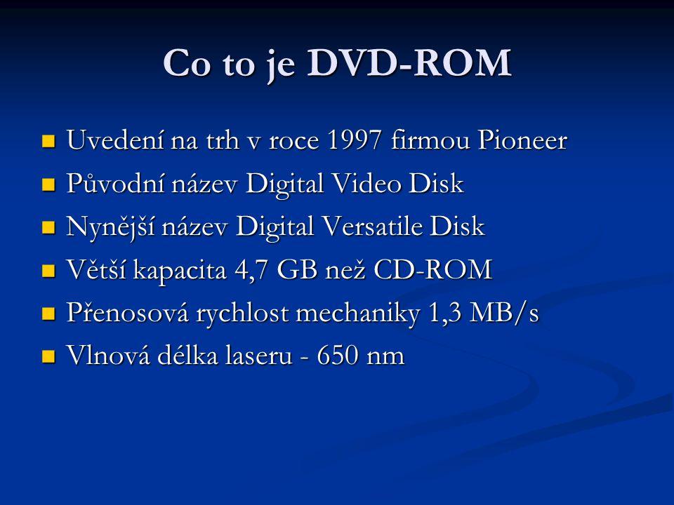Co to je DVD-ROM  Uvedení na trh v roce 1997 firmou Pioneer  Původní název Digital Video Disk  Nynější název Digital Versatile Disk  Větší kapacit