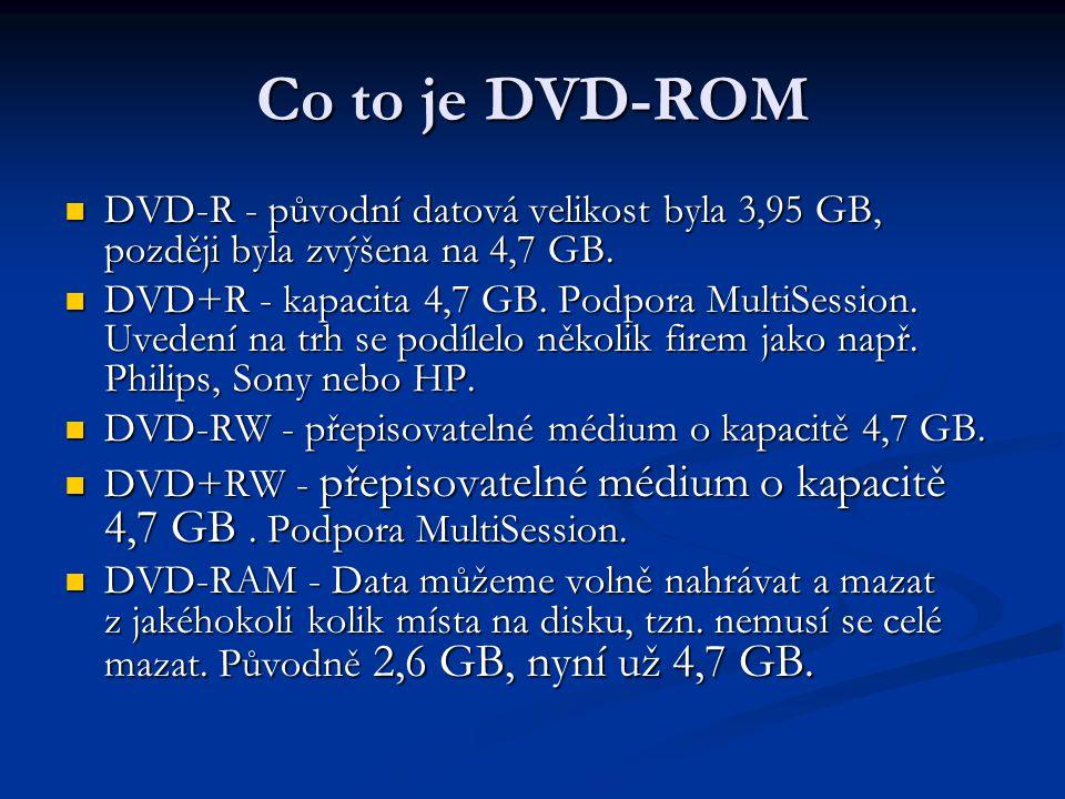 Co to je DVD-ROM  DVD-R - původní datová velikost byla 3,95 GB, později byla zvýšena na 4,7 GB.  DVD+R - kapacita 4,7 GB. Podpora MultiSession. Uved