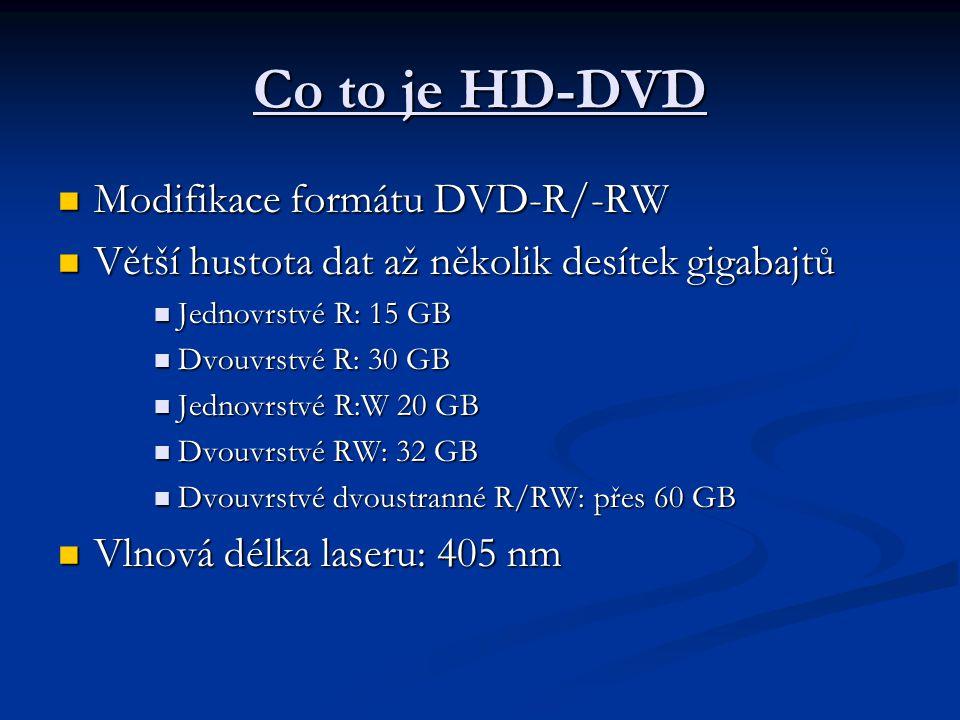 Co to je HD-DVD  Modifikace formátu DVD-R/-RW  Větší hustota dat až několik desítek gigabajtů  Jednovrstvé R: 15 GB  Dvouvrstvé R: 30 GB  Jednovr