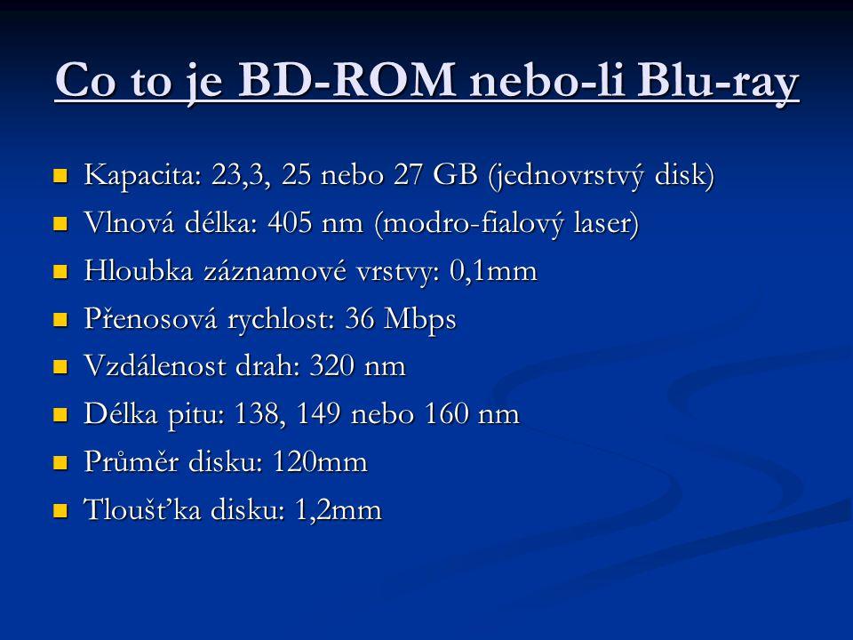 Co to je BD-ROM nebo-li Blu-ray  Kapacita: 23,3, 25 nebo 27 GB (jednovrstvý disk)  Vlnová délka: 405 nm (modro-fialový laser)  Hloubka záznamové vr