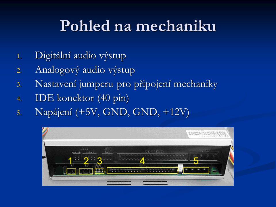 Pohled na mechaniku Vysouvací šuplík pro médium Kryt Informační štítek Montážní otvory Tlačítko pro otevření/zavření šuplíku Signalizační dioda pro čtení, zápis Ovládaní hlasitosti Konektor pro sluchátka