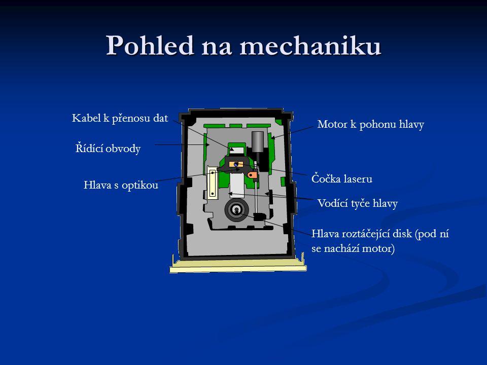 Pohled na mechaniku Kabel k přenosu dat Řídící obvody Motor k pohonu hlavy Hlava s optikou Čočka laseru Vodící tyče hlavy Hlava roztáčející disk (pod