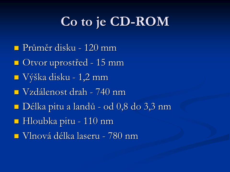 Co to je CD-ROM  Průměr disku - 120 mm  Otvor uprostřed - 15 mm  Výška disku - 1,2 mm  Vzdálenost drah - 740 nm  Délka pitu a landů - od 0,8 do 3