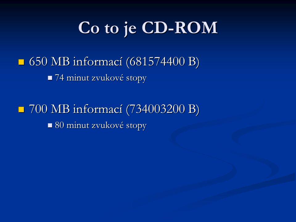 Co to je CD-ROM  Původní rychlost datového toku 150 kB/s  Single speed -150 kB/s (1,3 m/s)  Double speed - 300 kB/s  Triple speed - 450 kB/s  Quad speed - 600 kB/s  Větší rychlosti - násobky 150 kB/s až do 52x  Rychlost otáčení je v rozmezí 200 až 500 ot./min (záleží na poloze laseru)