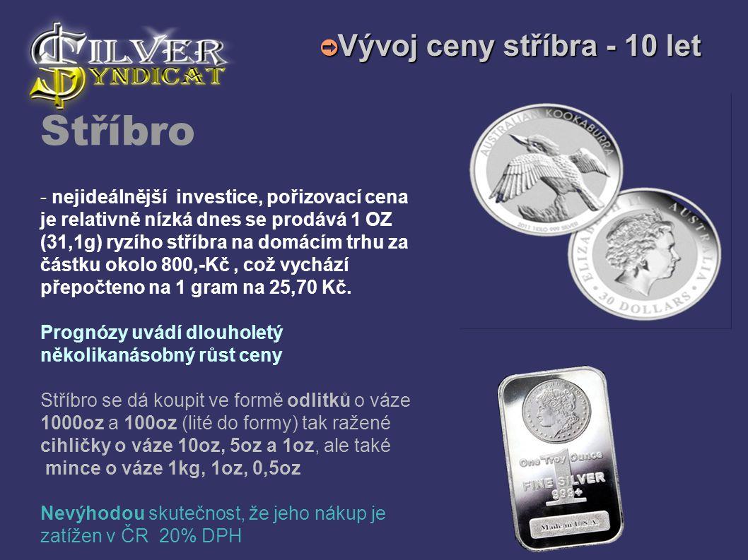 Stříbro - nejideálnější investice, pořizovací cena je relativně nízká dnes se prodává 1 OZ (31,1g) ryzího stříbra na domácím trhu za částku okolo 800,