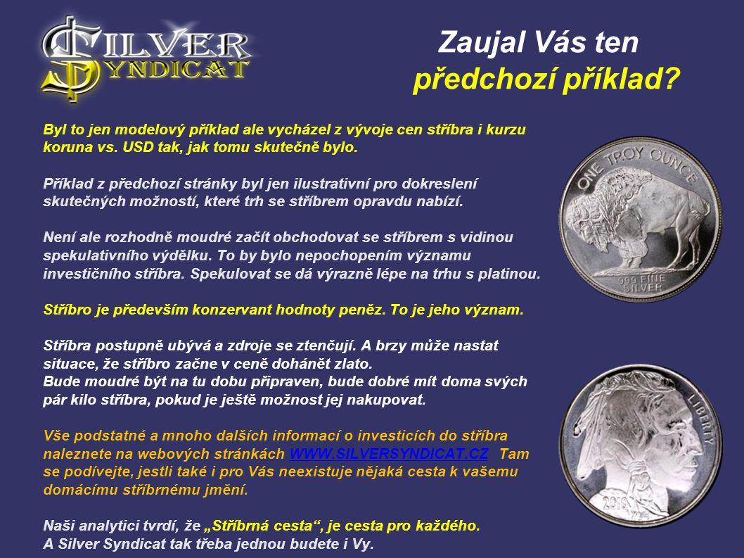 Zaujal Vás ten předchozí příklad? Byl to jen modelový příklad ale vycházel z vývoje cen stříbra i kurzu koruna vs. USD tak, jak tomu skutečně bylo. Př