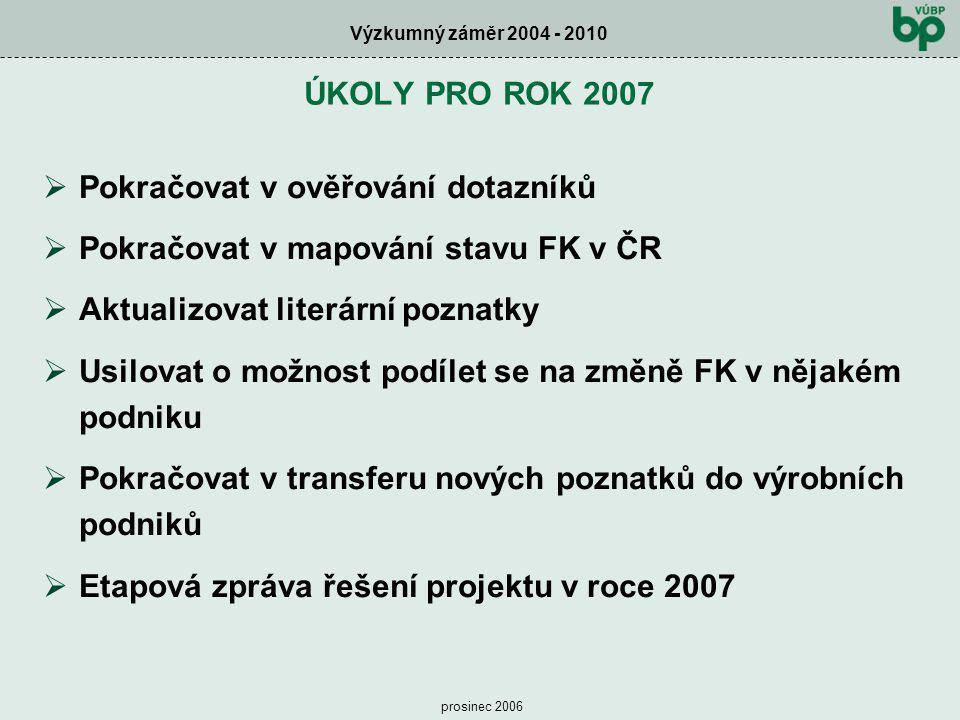 Výzkumný záměr 2004 - 2010 prosinec 2006  Pokračovat v ověřování dotazníků  Pokračovat v mapování stavu FK v ČR  Aktualizovat literární poznatky 