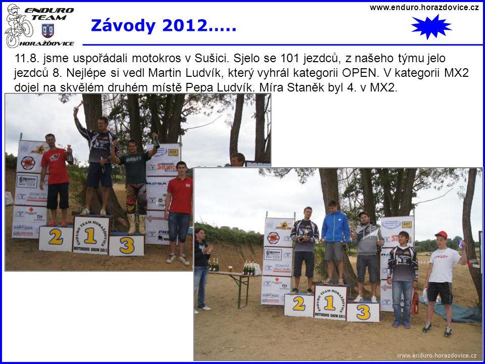 www.enduro.horazdovice.cz Závody 2012….. 11.8. jsme uspořádali motokros v Sušici. Sjelo se 101 jezdců, z našeho týmu jelo jezdců 8. Nejlépe si vedl Ma
