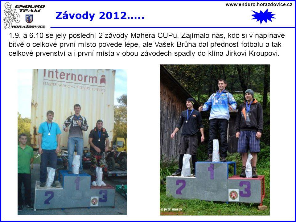 www.enduro.horazdovice.cz Závody 2012….. 1.9. a 6.10 se jely poslední 2 závody Mahera CUPu. Zajímalo nás, kdo si v napínavé bitvě o celkové první míst
