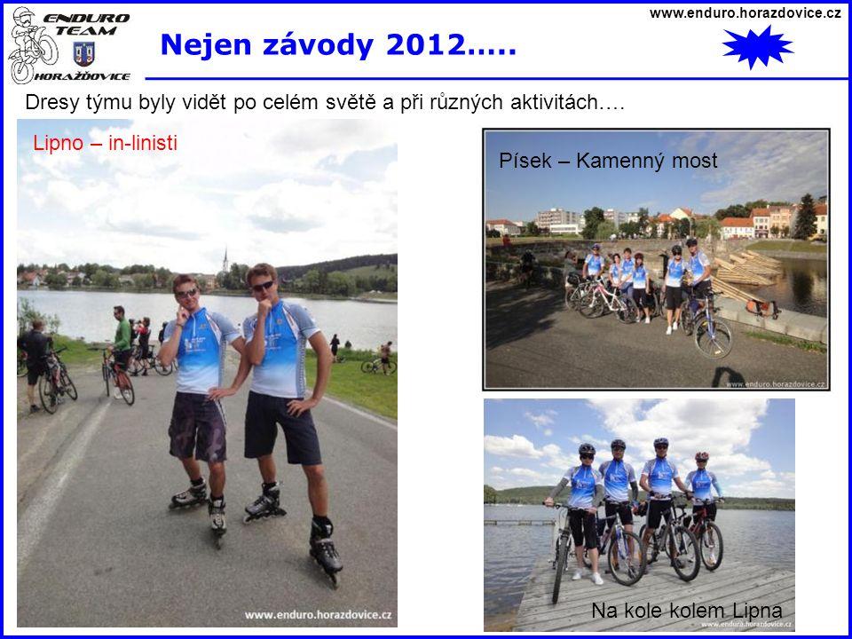 www.enduro.horazdovice.cz Nejen závody 2012….. Dresy týmu byly vidět po celém světě a při různých aktivitách…. Lipno – bike park Písek – Kamenný most
