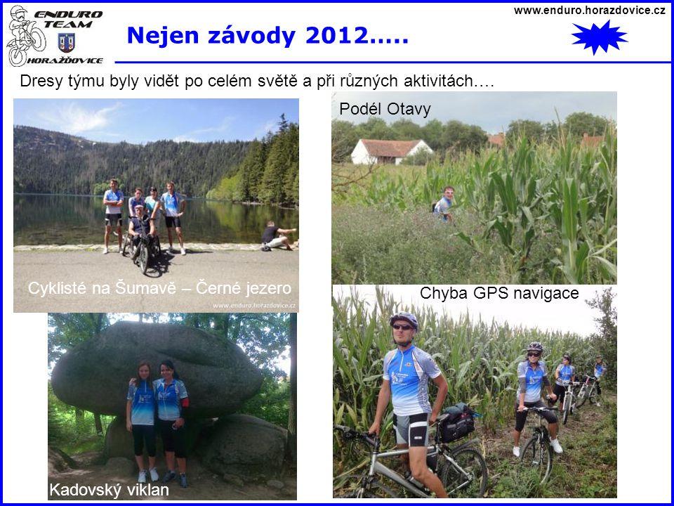 www.enduro.horazdovice.cz Nejen závody 2012….. Dresy týmu byly vidět po celém světě a při různých aktivitách…. Lipno – bike park Cyklisté na Šumavě –