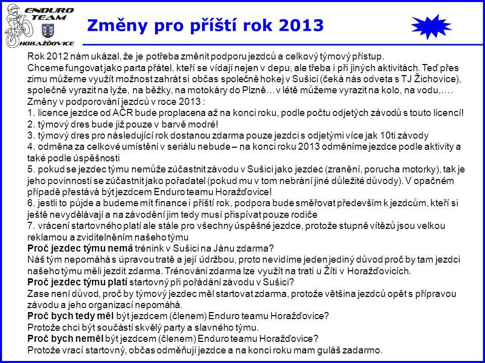 Změny pro příští rok 2013 Rok 2012 nám ukázal, že je potřeba změnit podporu jezdců a celkový týmový přístup. Chceme fungovat jako parta přátel, kteří