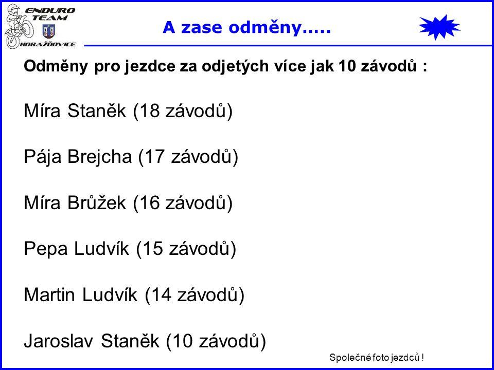 Odměny pro jezdce za odjetých více jak 10 závodů : Míra Staněk (18 závodů) Pája Brejcha (17 závodů) Míra Brůžek (16 závodů) Pepa Ludvík (15 závodů) Ma