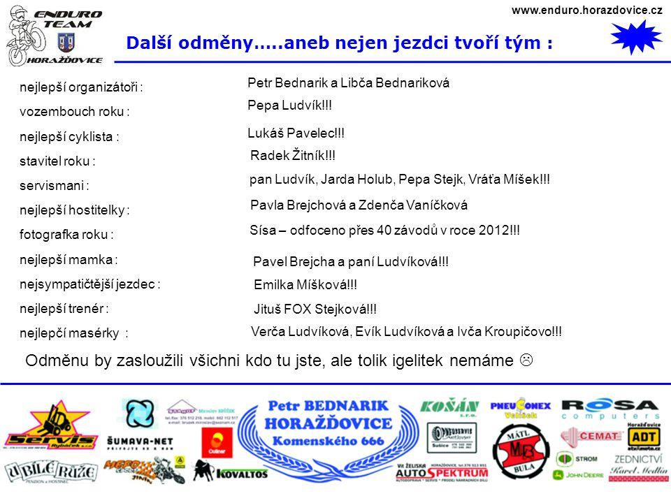 www.enduro.horazdovice.cz Další odměny…..aneb nejen jezdci tvoří tým : nejlepší organizátoři : vozembouch roku : nejlepší cyklista : stavitel roku : s