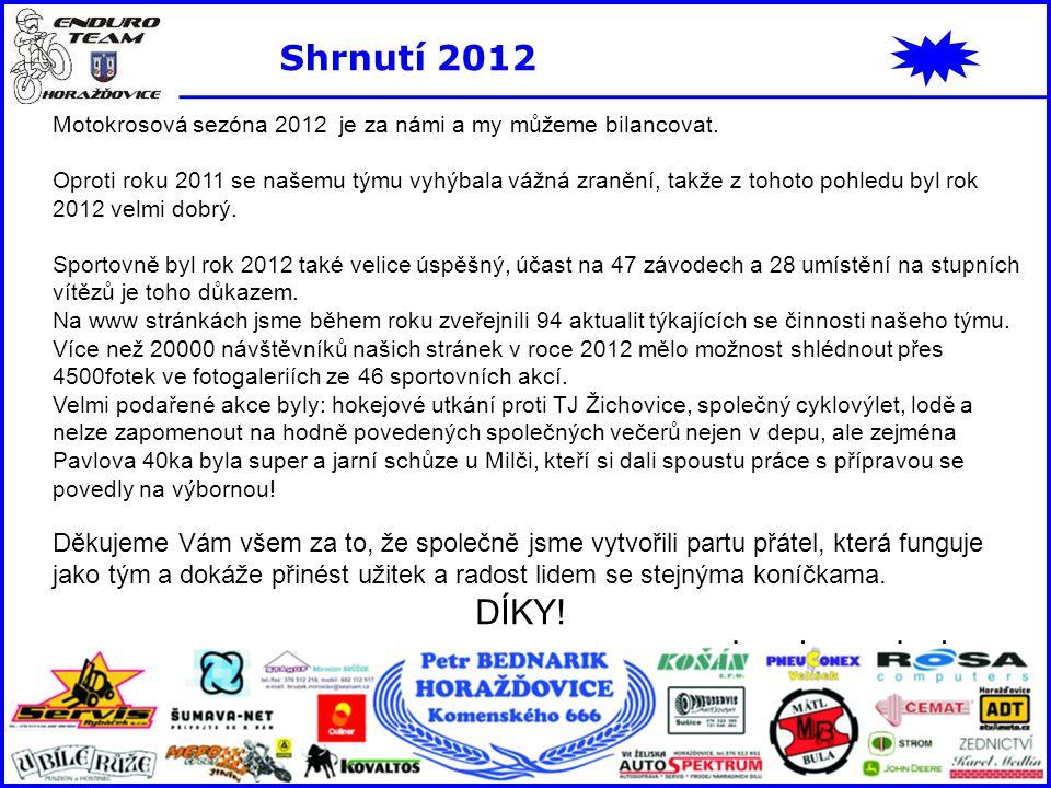 Shrnutí 2012 Motokrosová sezóna 2012 je za námi a my můžeme bilancovat. Oproti roku 2011 se našemu týmu vyhýbala vážná zranění, takže z tohoto pohledu