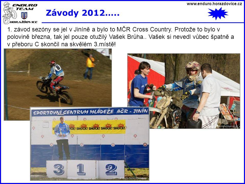 www.enduro.horazdovice.cz Závody 2012….. 1. závod sezóny se jel v Jiníně a bylo to MČR Cross Country. Protože to bylo v polovině března, tak jel pouze