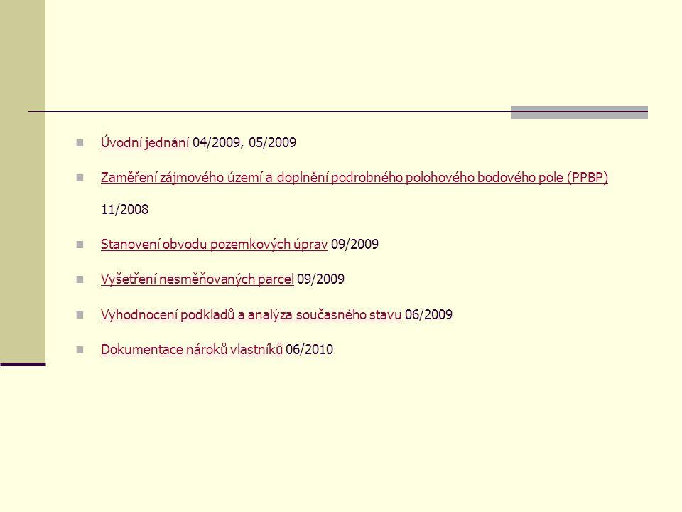 Přípravné práce návrhu KPÚ  Úvodní jednání 04/2009, 05/2009 Úvodní jednání  Zaměření zájmového území a doplnění podrobného polohového bodového pole (PPBP) 11/2008 Zaměření zájmového území a doplnění podrobného polohového bodového pole (PPBP)  Stanovení obvodu pozemkových úprav 09/2009 Stanovení obvodu pozemkových úprav  Vyšetření nesměňovaných parcel 09/2009 Vyšetření nesměňovaných parcel  Vyhodnocení podkladů a analýza současného stavu 06/2009odnocení podkladů a analýza současného stavu  Dokumentace nároků vlastníků 06/2010