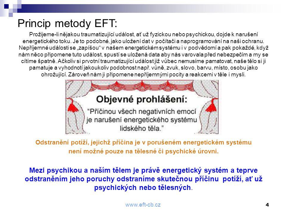 www.eft-cb.cz 4 Princip metody EFT: Prožijeme-li nějakou traumatizující událost, ať už fyzickou nebo psychickou, dojde k narušení energetického toku.