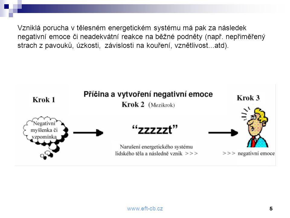 """www.eft-cb.cz 6 Základní procedura metody EFT Skládá se ze čtyř kroků: 1) Přípravná fáze, naladění (setup) 2) Sekvence 3) Proces GAMUT 9 4) Sekvence (podruhé) Celému základnímu postupu vždy předchází ještě """"nultý krok, a tím je stanovení intenzity problému."""