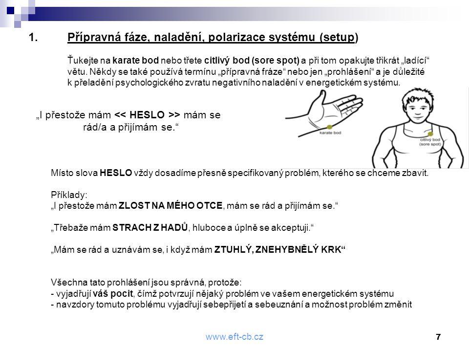 www.eft-cb.cz 7 1.Přípravná fáze, naladění, polarizace systému (setup) Ťukejte na karate bod nebo třete citlivý bod (sore spot) a při tom opakujte tři