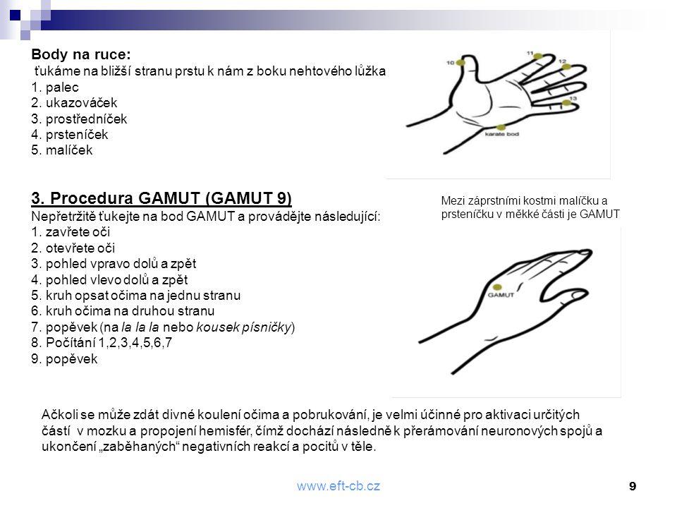 www.eft-cb.cz 9 Body na ruce: ťukáme na bližší stranu prstu k nám z boku nehtového lůžka 1. palec 2. ukazováček 3. prostředníček 4. prsteníček 5. malí