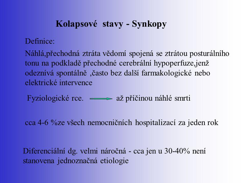 Kolapsové stavy - Synkopy Definice: Náhlá,přechodná ztráta vědomí spojená se ztrátou posturálního tonu na podkladě přechodné cerebrální hypoperfuze,je