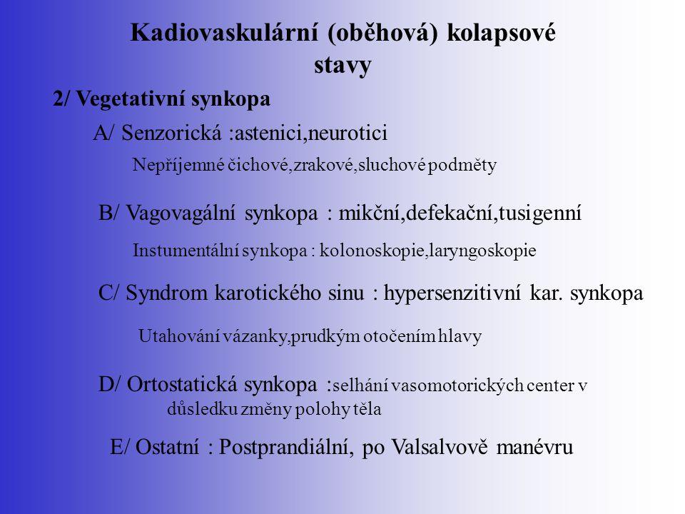 Kadiovaskulární (oběhová) kolapsové stavy 2/ Vegetativní synkopa A/ Senzorická :astenici,neurotici Nepříjemné čichové,zrakové,sluchové podměty B/ Vago