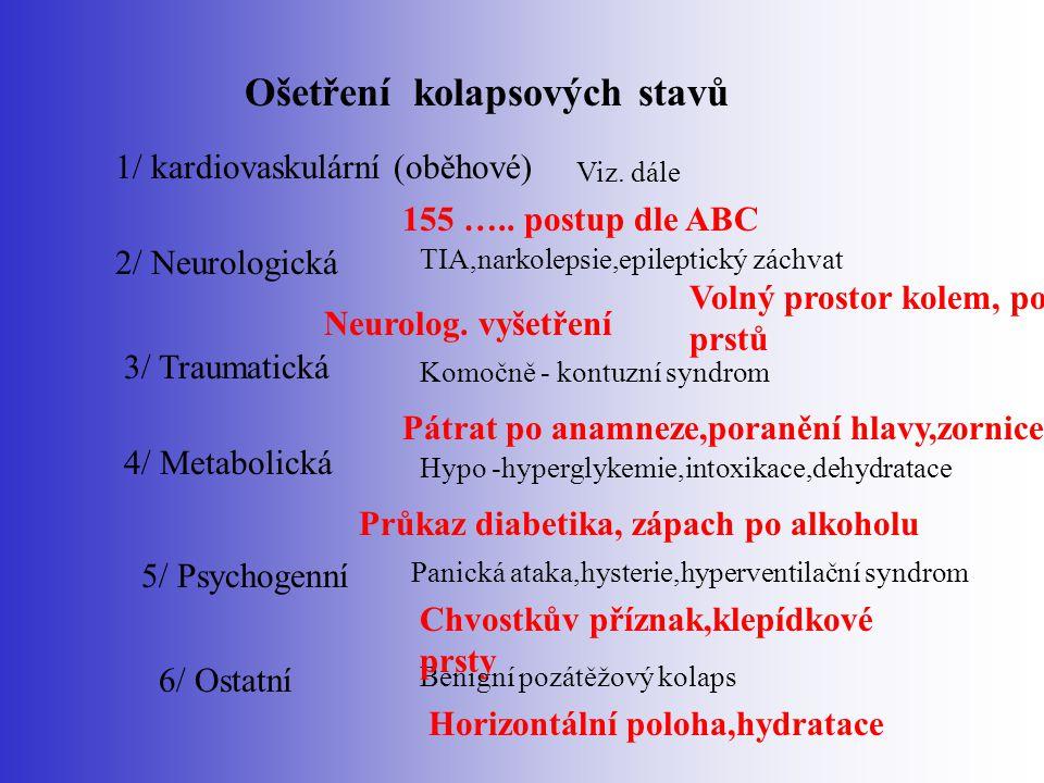 Ošetření kolapsových stavů 1/ kardiovaskulární (oběhové) 2/ Neurologická 3/ Traumatická 4/ Metabolická 5/ Psychogenní 6/ Ostatní TIA,narkolepsie,epile