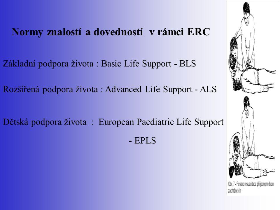 Normy znalostí a dovedností v rámci ERC Základní podpora života : Basic Life Support - BLS Rozšířená podpora života : Advanced Life Support - ALS Děts