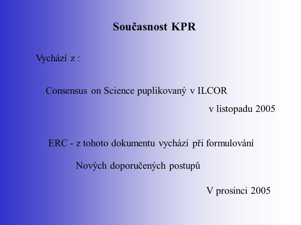 Současnost KPR Vychází z : Consensus on Science puplikovaný v ILCOR v listopadu 2005 ERC - z tohoto dokumentu vychází při formulování Nových doporučen