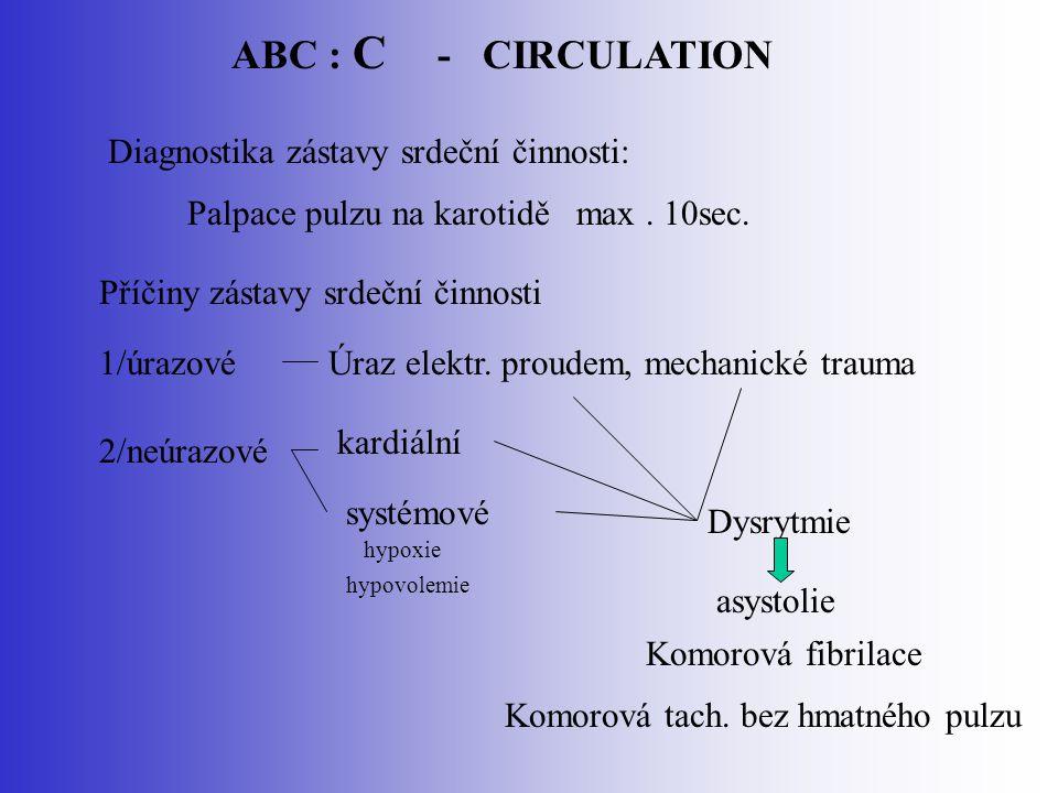 ABC : C - CIRCULATION Diagnostika zástavy srdeční činnosti: Palpace pulzu na karotidě max. 10sec. Příčiny zástavy srdeční činnosti Komorová fibrilace