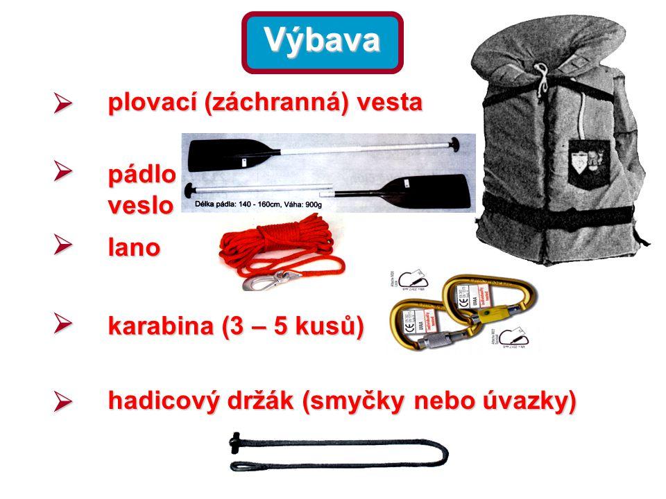 Výbava  plovací (záchranná) vesta  pádlo, veslo  lano  karabina (3 – 5 kusů)  hadicový držák (smyčky nebo úvazky)