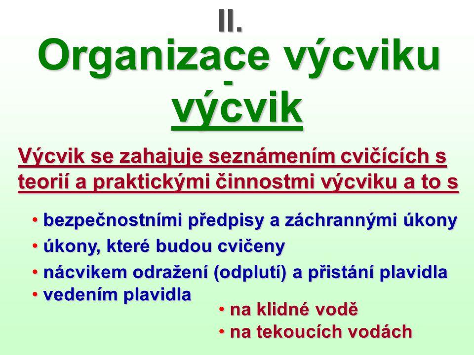 II. Organizace výcviku - výcvik Výcvik se zahajuje seznámením cvičících s teorií a praktickými činnostmi výcviku a to s • bezpečnostními předpisy a zá
