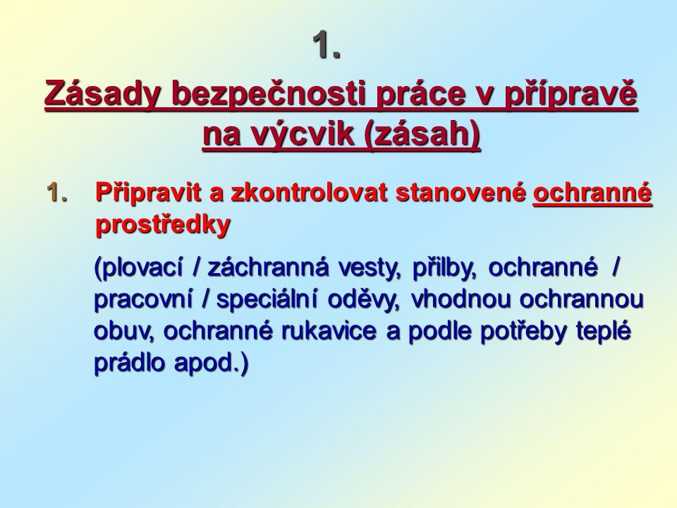 1.1.1.1. Zásady bezpečnosti práce v přípravě na výcvik (zásah) 1.1.1.1. Připravit a zkontrolovat stanovené ochranné prostředky (plovací / záchranná ve