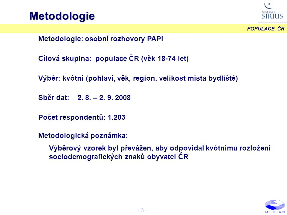POPULACE ČR - 4 - Struktura výběrového vzorku METODOLOGIE