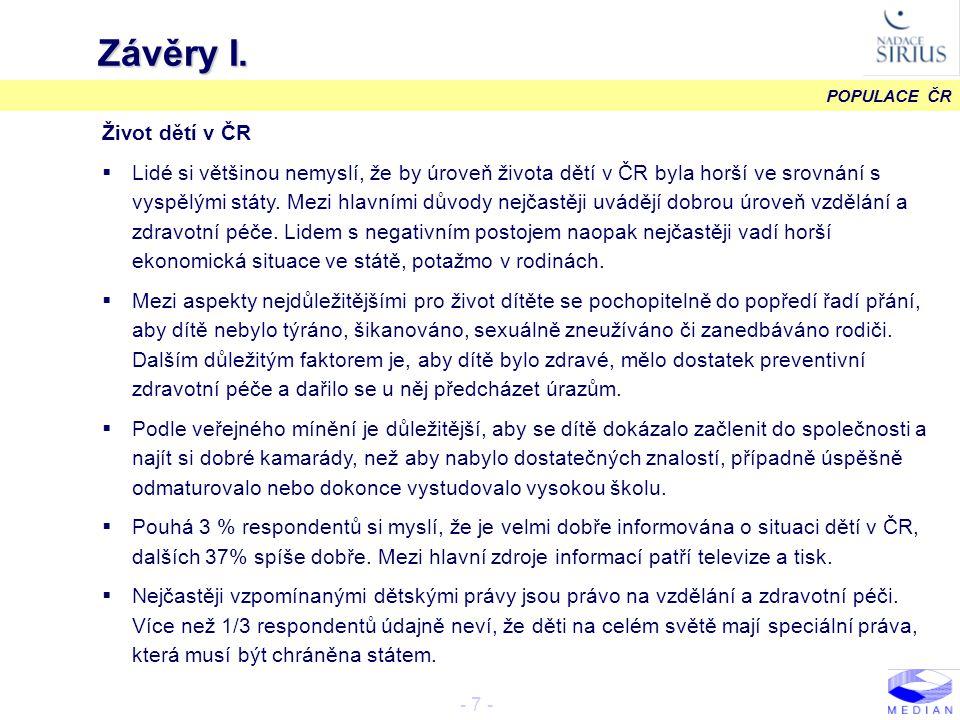 POPULACE ČR - 18 - Zdroje informací METODOLOGIE N = 1203 B08.